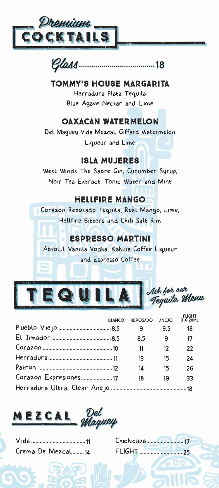 Drinks Menu at Mexican Kitchen- Premium Cocktails and Tequila